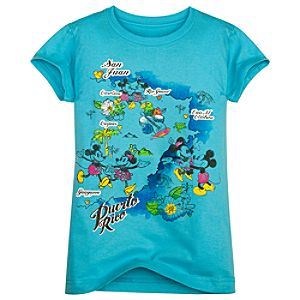 Puerto Rico Map Minnie and Mickey Mouse Tee for Girls -- Made with Organic Cotton