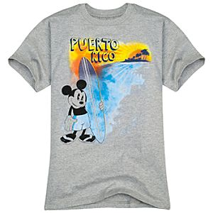 Puerto Rico Surfing Mickey Mouse Tee for Boys -- Made with Organic Cotton