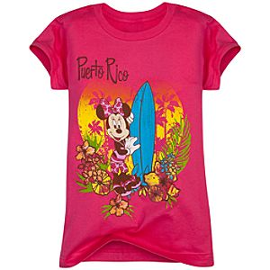 Puerto Rico Minnie Mouse Tee for Girls -- Made With Organic Cotton