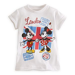 Mickey and Minnie Mouse Around the World Tee for Girls - London