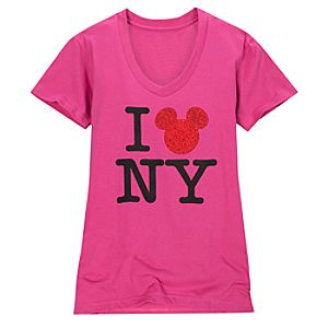 Organic Cotton V-Neck New York Mickey Mouse Tee for Women