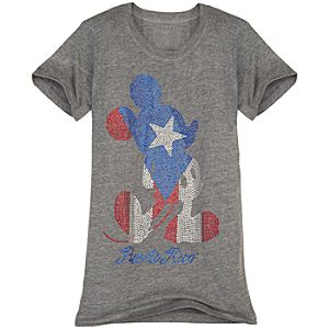 Rhinestone Puerto Rico Mickey Mouse Tee for Women