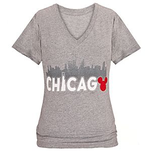 Glitter Skyline Chicago Mickey Mouse Tee for Women -- Grey