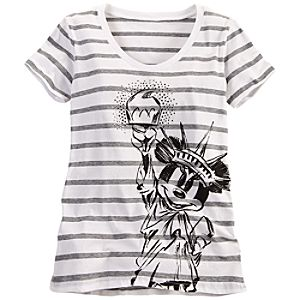 Striped New York Minnie Mouse Tee for Women