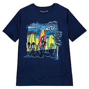 Hawaii Surfing Mickey Mouse and Friends Tee for Men -- Made With Organic Cotton