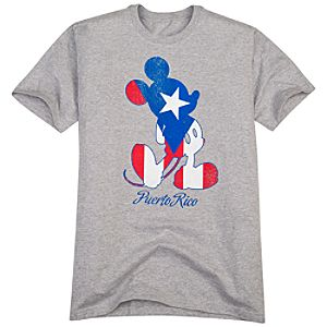 Puerto Rico Flag Mickey Mouse Tee for Men -- Made with Organic Cotton
