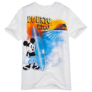Puerto Rico Surfer Mickey Mouse Tee for Men -- Made with Organic Cotton