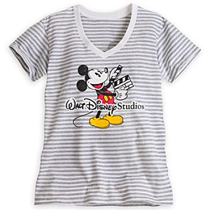 Mickey Mouse Striped V-Neck Tee for Women - Walt Disney Studios