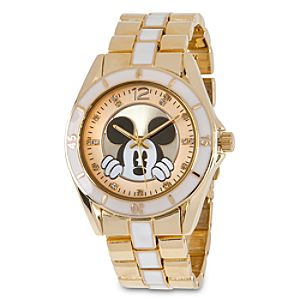 Mickey Mouse Link Watch for Men - Gold/White