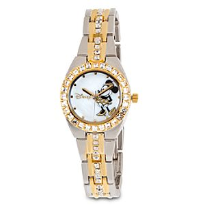 Minnie Mouse Crystal Link Watch for Women - Gold/Silver