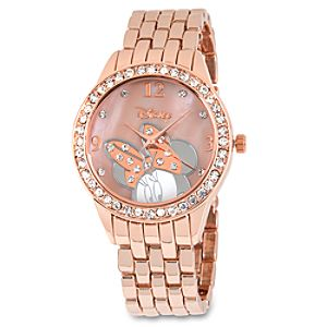 Minnie Mouse Crystal Link Watch for Women - Rose