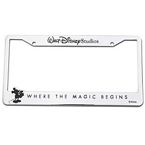 Walt Disney Studios Mickey Mouse License Plate Frame -- Chrome