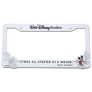 Walt Disney Studios Mickey Mouse License Plate Frame -- White