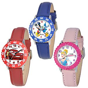 Customized Time Teacher Watch with Leather Strap and Bezel for Kids