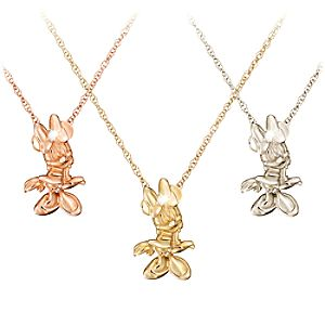 Diamond Figure Minnie Mouse Necklace -- 14 Karat