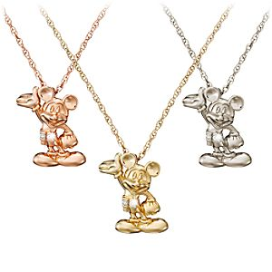 Diamond Figure Mickey Mouse Necklace -- 14 Karat