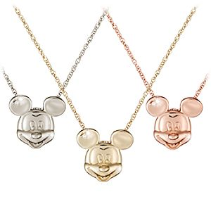 Diamond Head Mickey Mouse Necklace -- 14 Karat
