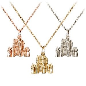 Diamond and Gold Disney Castle Necklace -- 14 Karat