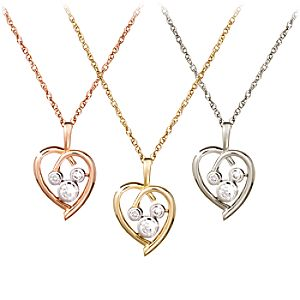 Diamond Heart Mickey Mouse Necklace  -- 14 Karat