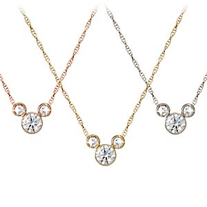 Diamond Icon Mickey Mouse Necklace: Medium -- 14 Karat