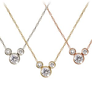 Diamond Icon Mickey Mouse Necklace: Large -- 14 Karat