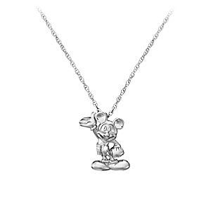 Diamond Figure Mickey Mouse Necklace -- Platinum