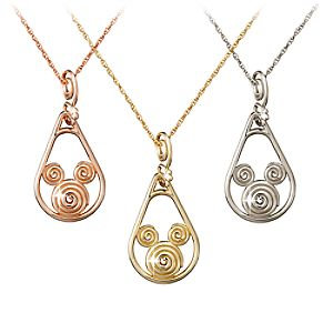 Gold Coiled Icon Mickey Mouse Necklace -- 14 Karat