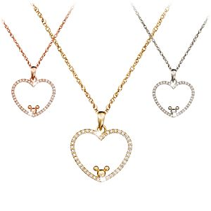 Diamond Heart Icon Mickey Mouse Necklace -- 18 Karat