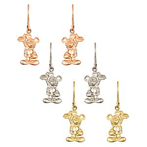 Diamond Figure Mickey Mouse Earrings -- 14 Karat