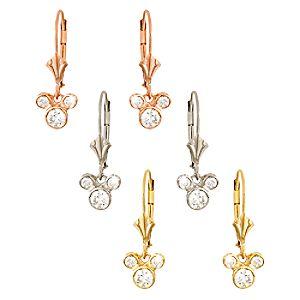 Diamond Dangle Icon Mickey Mouse Earrings -- 18 Karat