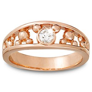 Diamond Icon Mickey Mouse Ring for Men -- 14 Karat Rose Gold