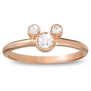 Diamond Petite Icon Mickey Mouse Ring -- 14 Karat Rose Gold