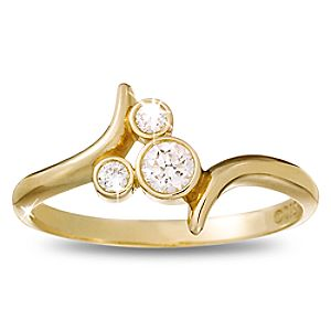 Diamond Bypass Icon Mickey Mouse Ring -- 14 Karat Yellow Gold