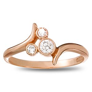 Diamond Bypass Icon Mickey Mouse Ring -- 14 Karat Rose Gold