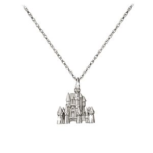 Diamond and Gold Disney Castle Necklace -- Platinum