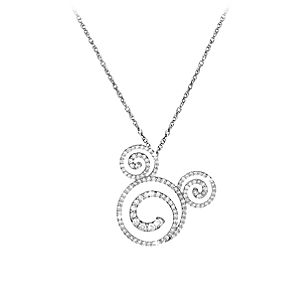 Diamond Swirl Icon Mickey Mouse Necklace -- Platinum
