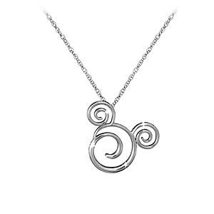 Platinum Swirled Icon Mickey Mouse Necklace