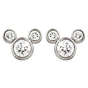 Diamond Icon Mickey Mouse Earrings: Small -- Platinum