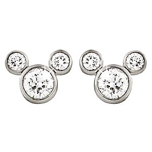 Diamond Icon Mickey Mouse Earrings: Large -- Platinum