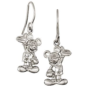 Diamond Figure Mickey Mouse Earrings -- Platinum
