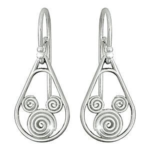 Platinum Swirl Mickey Mouse Earrings