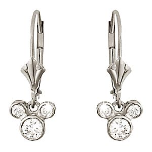 Diamond Dangle Icon Mickey Mouse Earrings -- Platinum