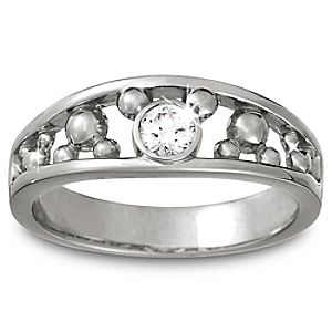 Diamond Icon Mickey Mouse Ring for Men -- Platinum