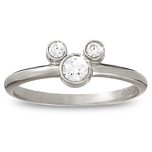 Diamond Petite Icon Mickey Mouse Ring -- Platinum