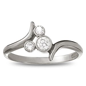 Diamond Bypass Icon Mickey Mouse Ring -- Platinum