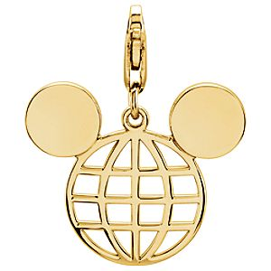 Mickey Mouse Globe Icon Charm - 14K
