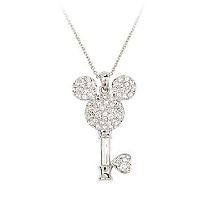 Mickey Mouse Crystal-Studded Key Necklace by Arribas