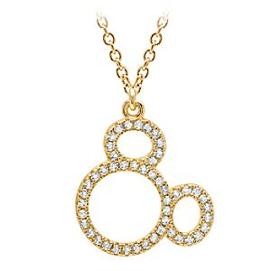 Mickey Mouse Icon Silhouette Pendant Necklace by Crislu - Yellow Gold