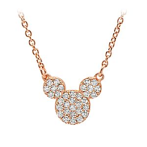 Mickey Mouse Icon Necklace by Crislu - Rose Gold