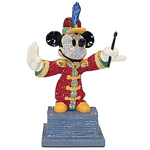 "Jeweled Bandleader Mickey Mouse Figurine by Arribas Brothers - 5 3/4"" H"